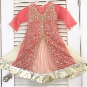 Other - {{Handmade}} girl sz 6-8 pink lace diamond dress